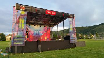 Atlas 1 mobile stage with full banner package